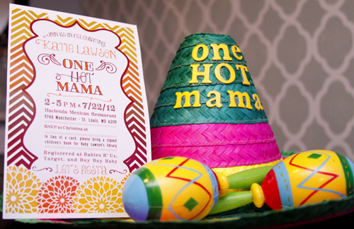 one hot mama, baby shower, invite, sombraro, fiesta, mexican, cinco de mayo