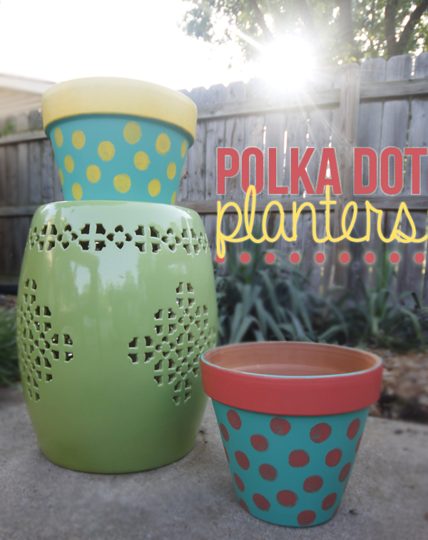 polka dot planters with no plants