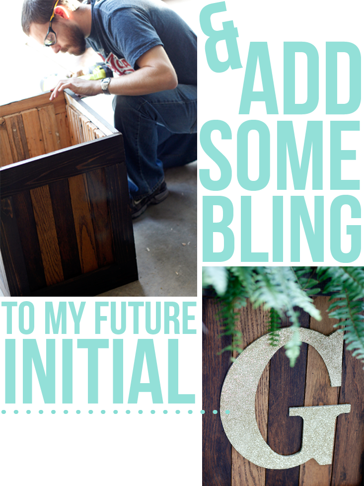 finishing-touches-on-our-diy-initial-planter-with-glitter